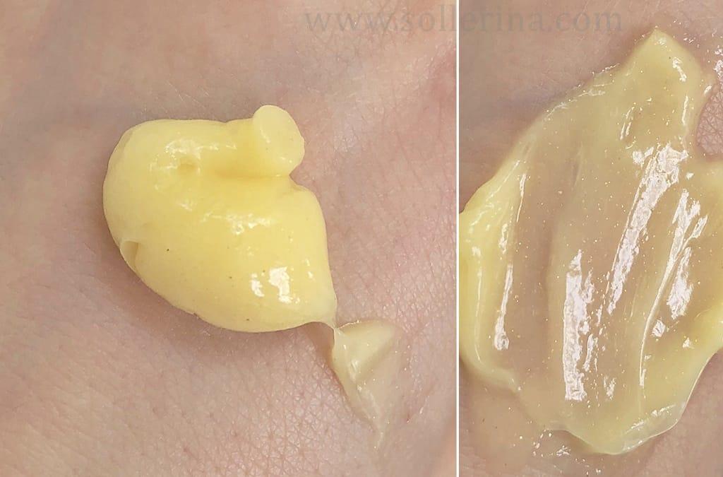 La maschera di Biovax ha una consistenza cremosa, leggera, gialla con le particelle d'oro.