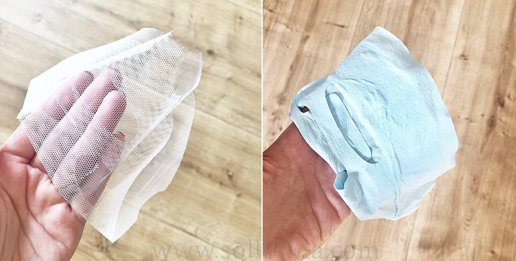 Nella confezione il tessuto viene posizionato su una rete bianca.