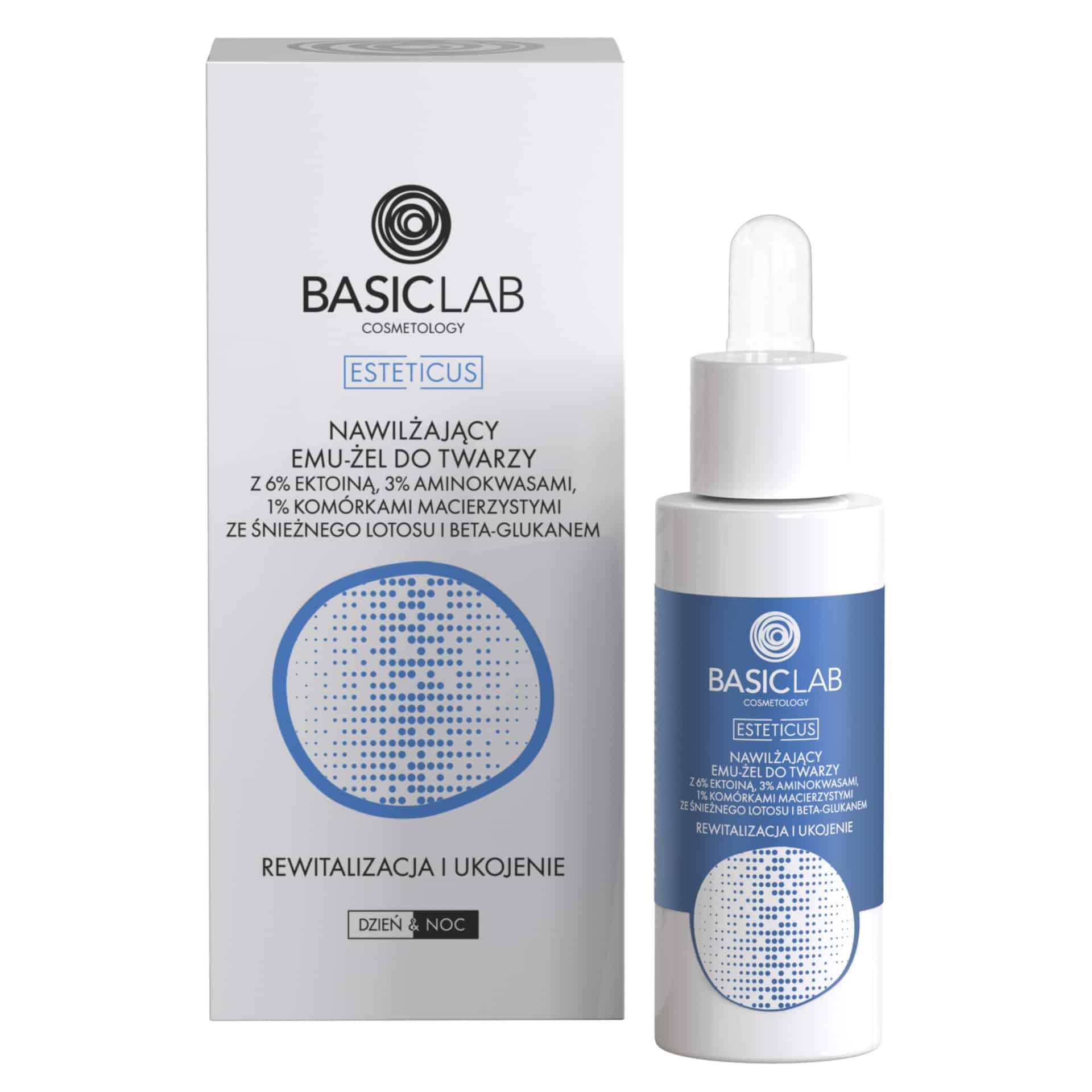 BasicLab Dermocosmetics – Nawilżający emu-żel do twarzy z 6% ektoiną i komórkami macierzystymi ze śnieżnego lotosu – Rewitalizacja i ukojenie (Fot. BasicLab Dermocosmetics)
