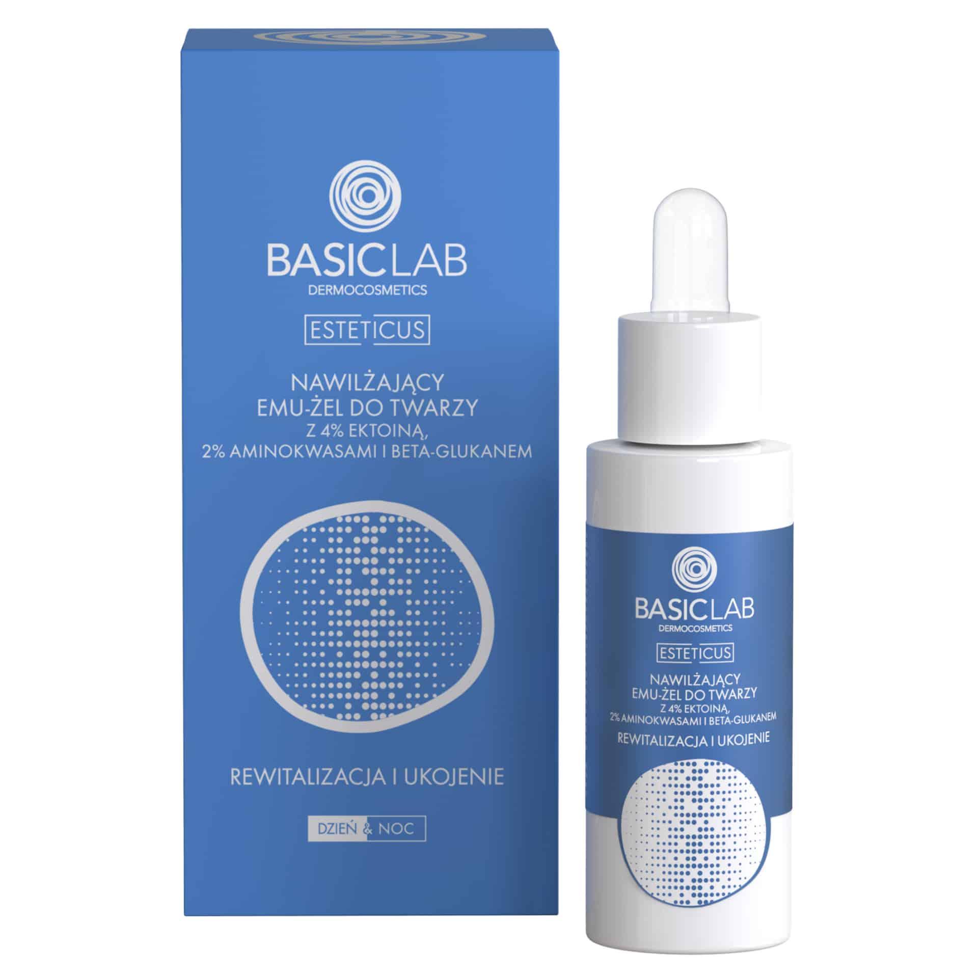 BasicLab Dermocosmetics – Nawilżający emu-żel do twarzy z 4% ektoiną, aminokwasami i beta-glukanem – Rewitalizacja i ukojenie (Fot. BasicLab Dermocosmetics)
